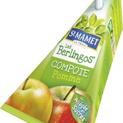 Compote pomme allegee en sucres berlingots 100 g st mamet vendu a l unite