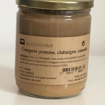 Compote pomme chataigne amande 400g esat la cezarenque en cevennes concoules