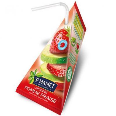 Compote pomme fraise allegee en sucres berlingots 48x100 g st mamet vendu a l unite