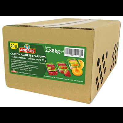 Confiture 20 g x 144 carton assorti de 3 parfums andros