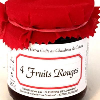 Confiture quatre fruits rouges 250g bocal 1