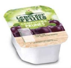 Confitures de prune barquette de 30g en lot de 15 berger de fruits