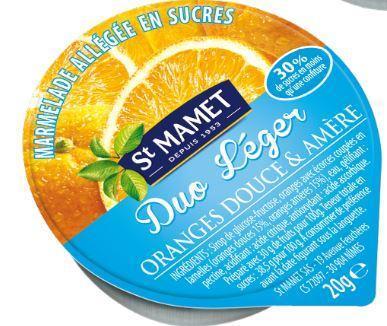 Confitures duo leger 20 g orange douce orange amere st manet vendu a l unite