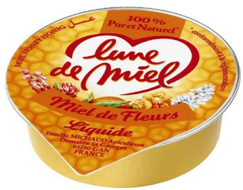 Coupelles de miel de fleurs liquide 20 g lune de miel vendu a l unite