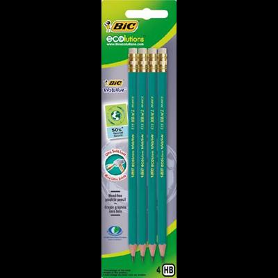 Crayon graphite hb bic ecolution avec bout gomme x 4