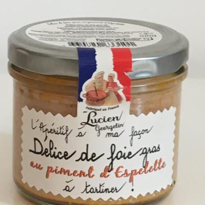 Delice de foie gras au piment d espelette 100g lucien georgelin