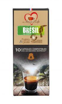 Dosettes pour nespresso bresil x10