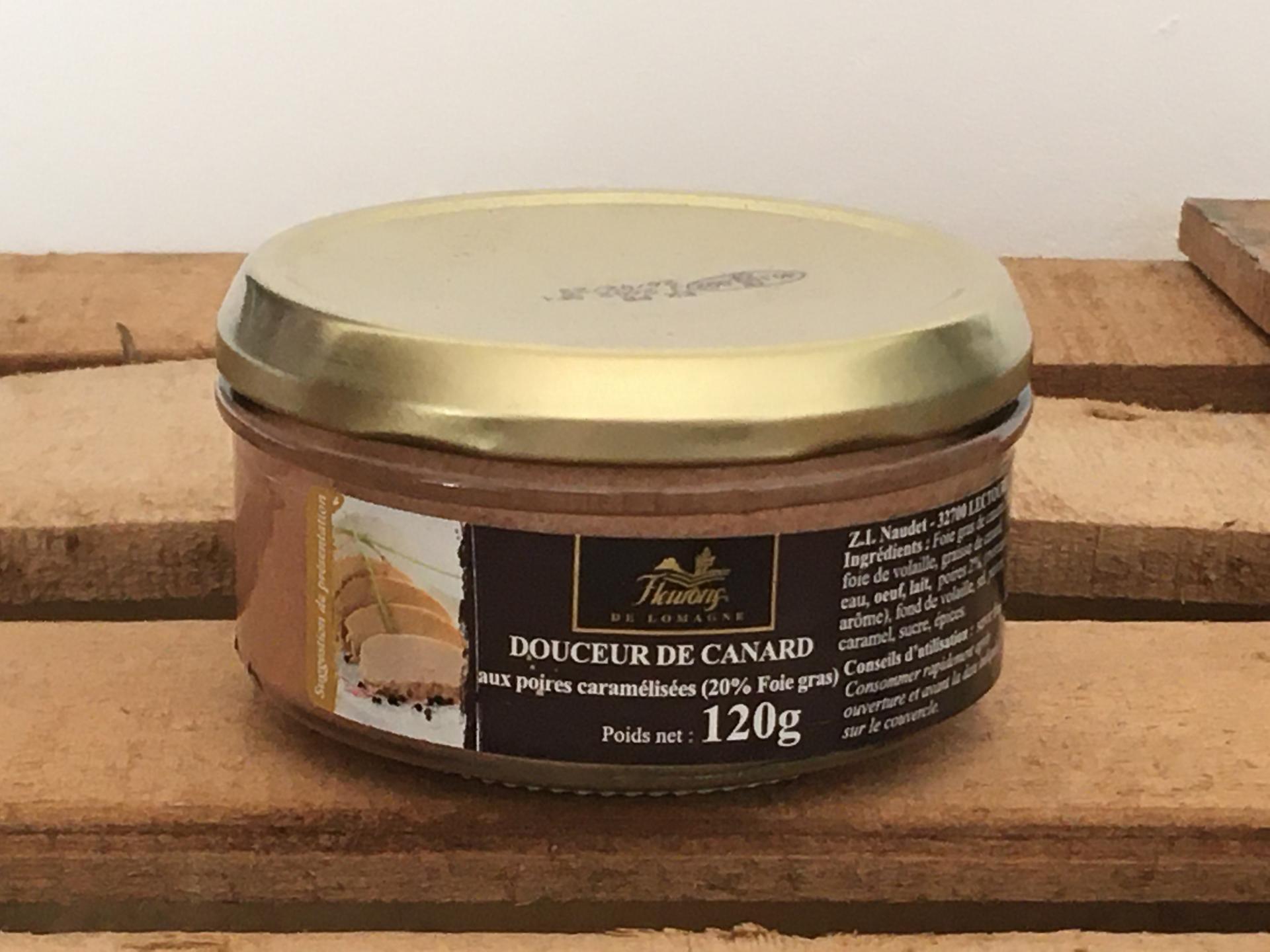 Douceur de foie de canard aux poires caramelisees 20 foie gras 120g
