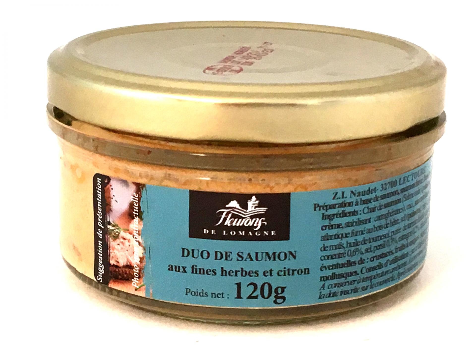 Duo de saumon aux fines herbes et citron 120g bocal 1