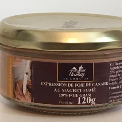 Expression de foie de canard au magret fume 20 fg 120g bocal