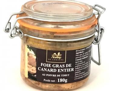 Foie gras de canard entier au poivre de timut 180g