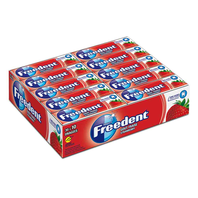 Freedent fraise 30 x 10 dragees