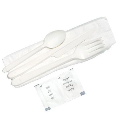 Kit couverts blanc 6 en 1 vendu par 50 pour professionnels