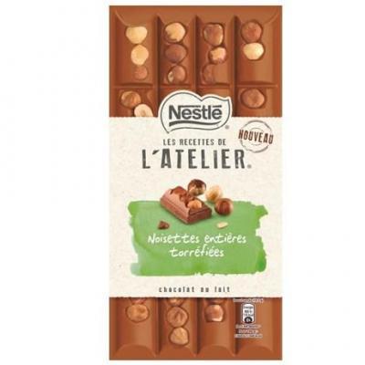 Les recette de l atelier chocolat au lait noisettes entieres torrefiees 195 g pour bureau