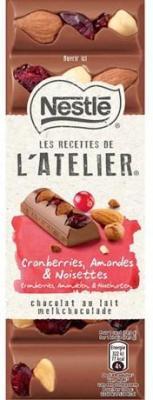 Les recettes de l atelier chocolat au lait cranberries amandes et noisettes 100 g pour professionnels