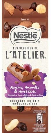 Les recettes de l atelier chocolat au lait raisins amandes et noisettes 100 g pour professionnels