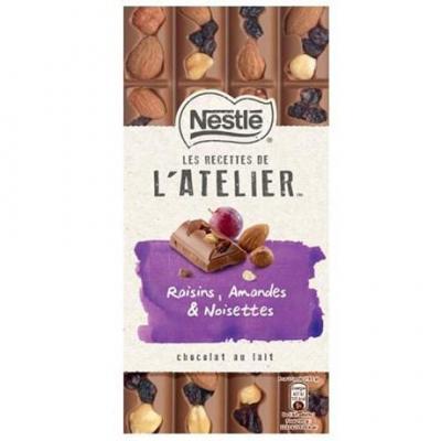 Les recettes de l atelier chocolat au lait raisins amandes et noisettes 195 g pour professionnels