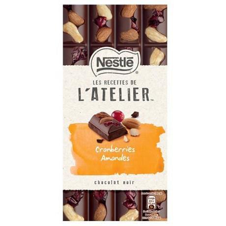 Les recettes de l atelier chocolat noir cranberries amandes 195 g pour professionnels