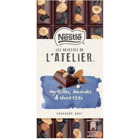 Les recettes de l atelier chocolat noir myrtilles amandes et noisettes 195 g pour bureau