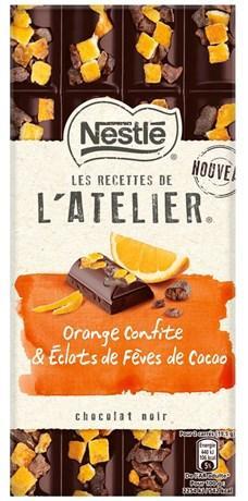Les recettes de l atelier chocolat noir orange confite et eclats de feves de cacao 195 g pour bureau
