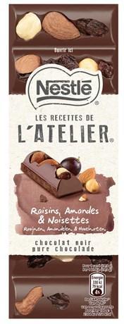 Les recettes de l atelier chocolat noir raisins amandes et noisettes 100 g pour professionnels