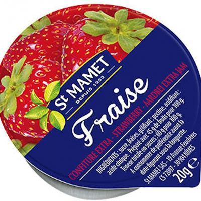 Lot de 12 confiture extra de fraise 20 g st mamet en coupelle alu