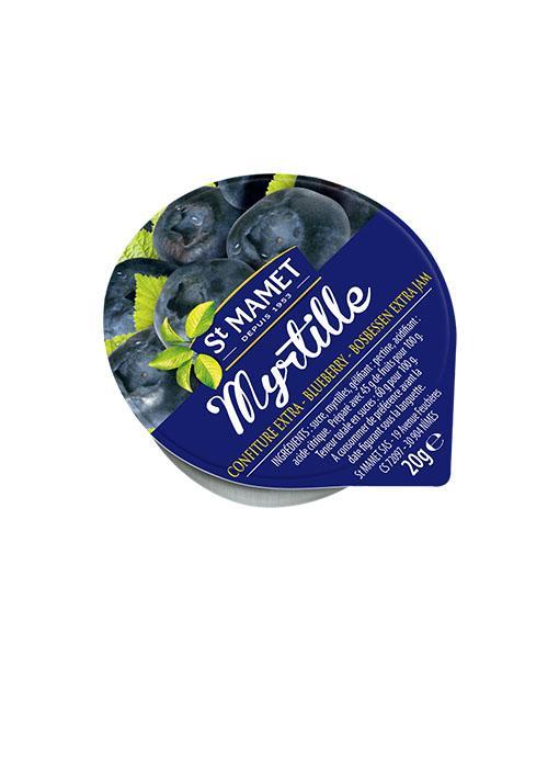 Lot de 12 confiture extra de myrtilles 20 g st mamet en coupelle alu