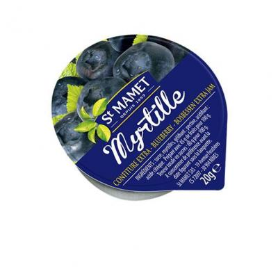 Lot de 12 confiture extra de myrtilles 20 g st mamet en coupelle alu
