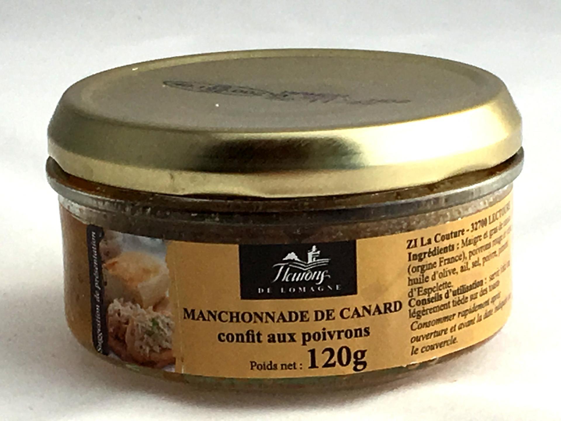 Manchonnade de canard confit aux poivrons 120g bocal produits du terroir