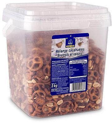 Melange cacahuetes raisins bretzel 2 kg cevennes terroir colis gastronomiques