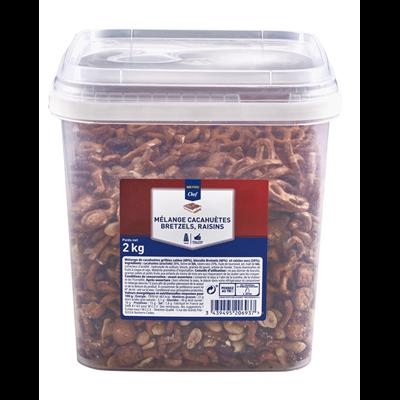 Melange cacahuetes raisins bretzel 2 kg metro chef