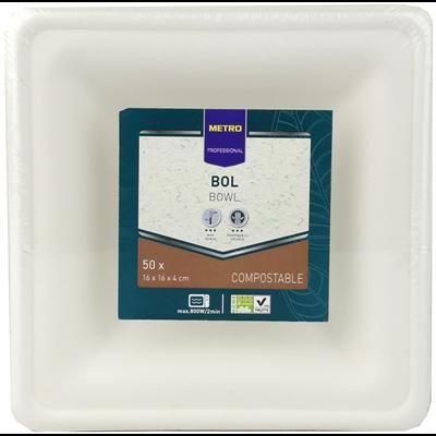Mini bol jetable carre biodegradable blanc 300 ml x 50