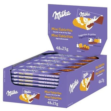 Mini tablettes chocolat au lait 48 x 25 g pour professionnels