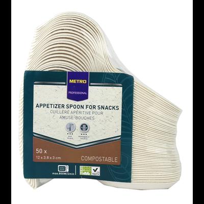 Mise en bouche cuillere biodegradable blanc 13 5 x 3 8 cm x 50