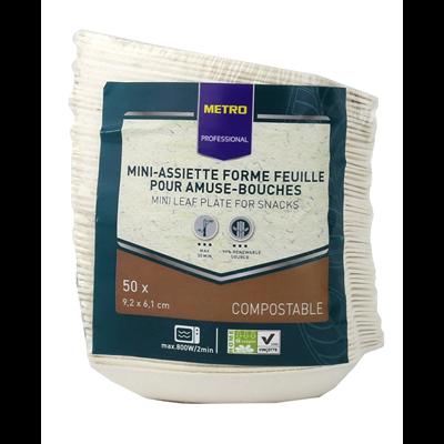 Mise en bouche feuille biodegradable blanc 9 2 x 6 1 cm x 50