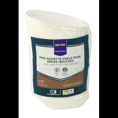 Mise en bouche ovale biodegradable blanc 8 x 5 2 cm x 50