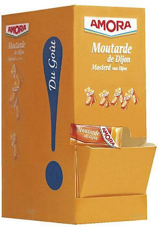 Moutarde de dijon en dosettes 400 x 5 g amora stick a l unite dosette individuelle