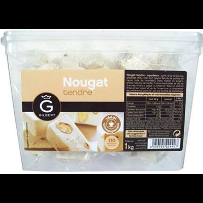 Nougat blanc emballe individuellement en carton de 1 kg