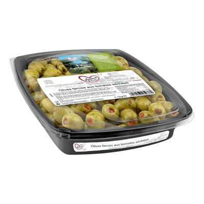 Olive farcie a la tomate sechee barquette 1 1 kg lombardo sott oli