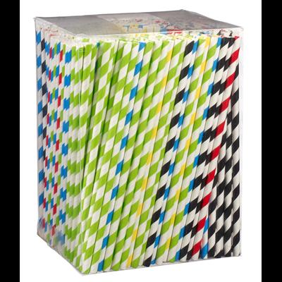 Paille rigide en papier solia couleurs panachees vendu par 500