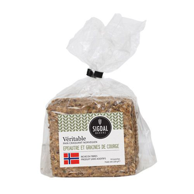 Pain craquant norvegien epautre et graines de courge 220 g sigdal
