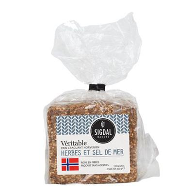 Pain craquant norvegien herbes et sel de mer 220 g sigdal