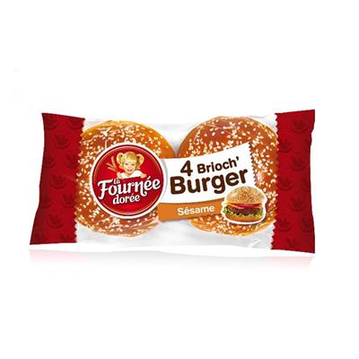 Pain hamburger brioch burger sesame 4 pieces la fournee doree 1