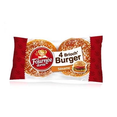Pain hamburger brioch burger sesame 4 pieces la fournee doree