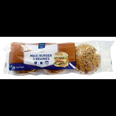 Pain hamburger maxi 3 graines metro chef