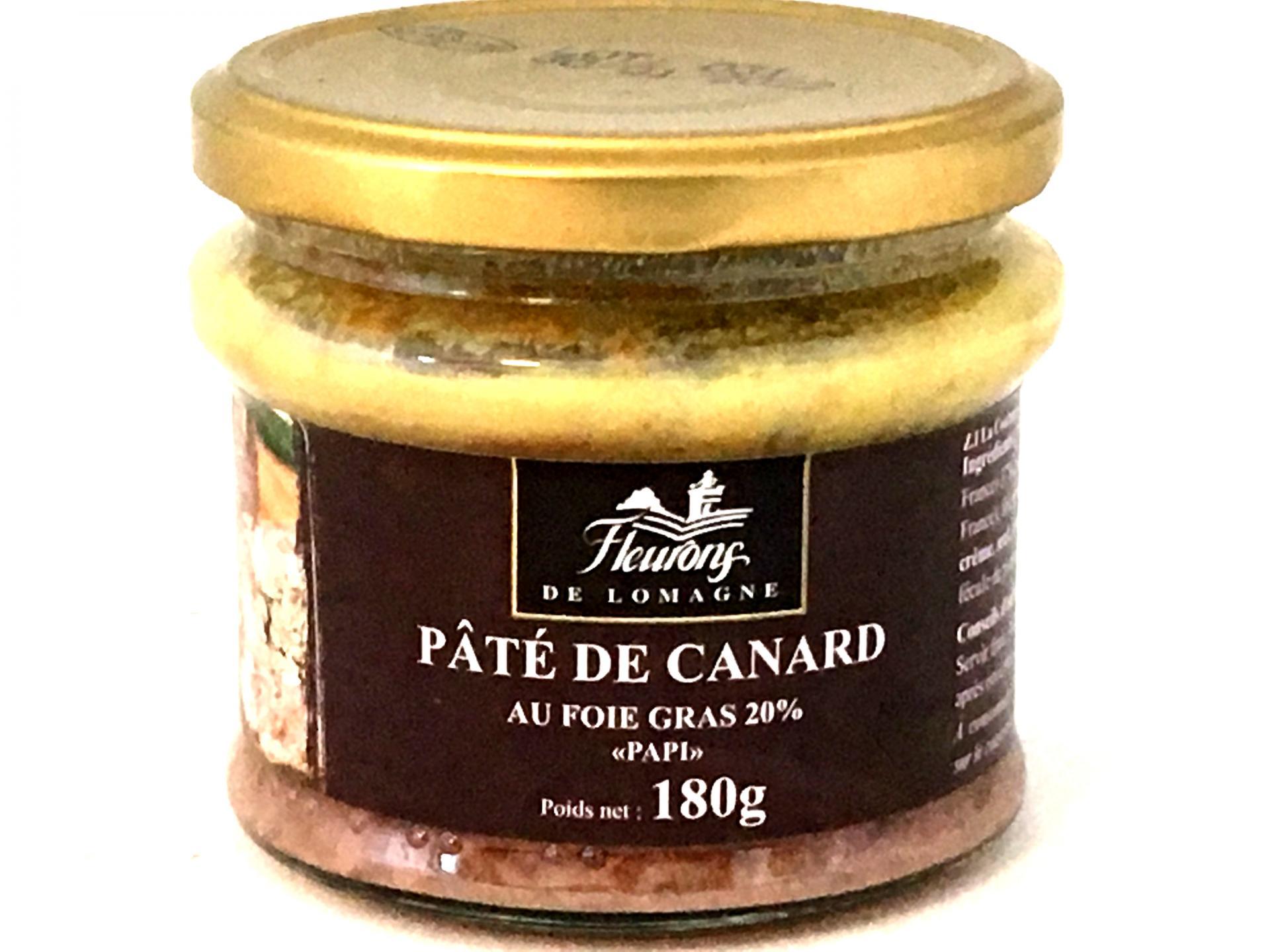 Pate de canard au foie gras 20 foies gras papi 180g bocal