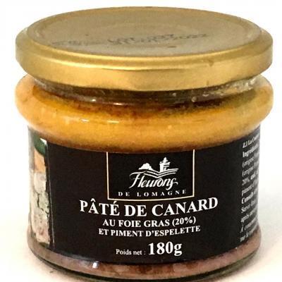 Pate de canard au foie gras et piment d espelette 180g bocal