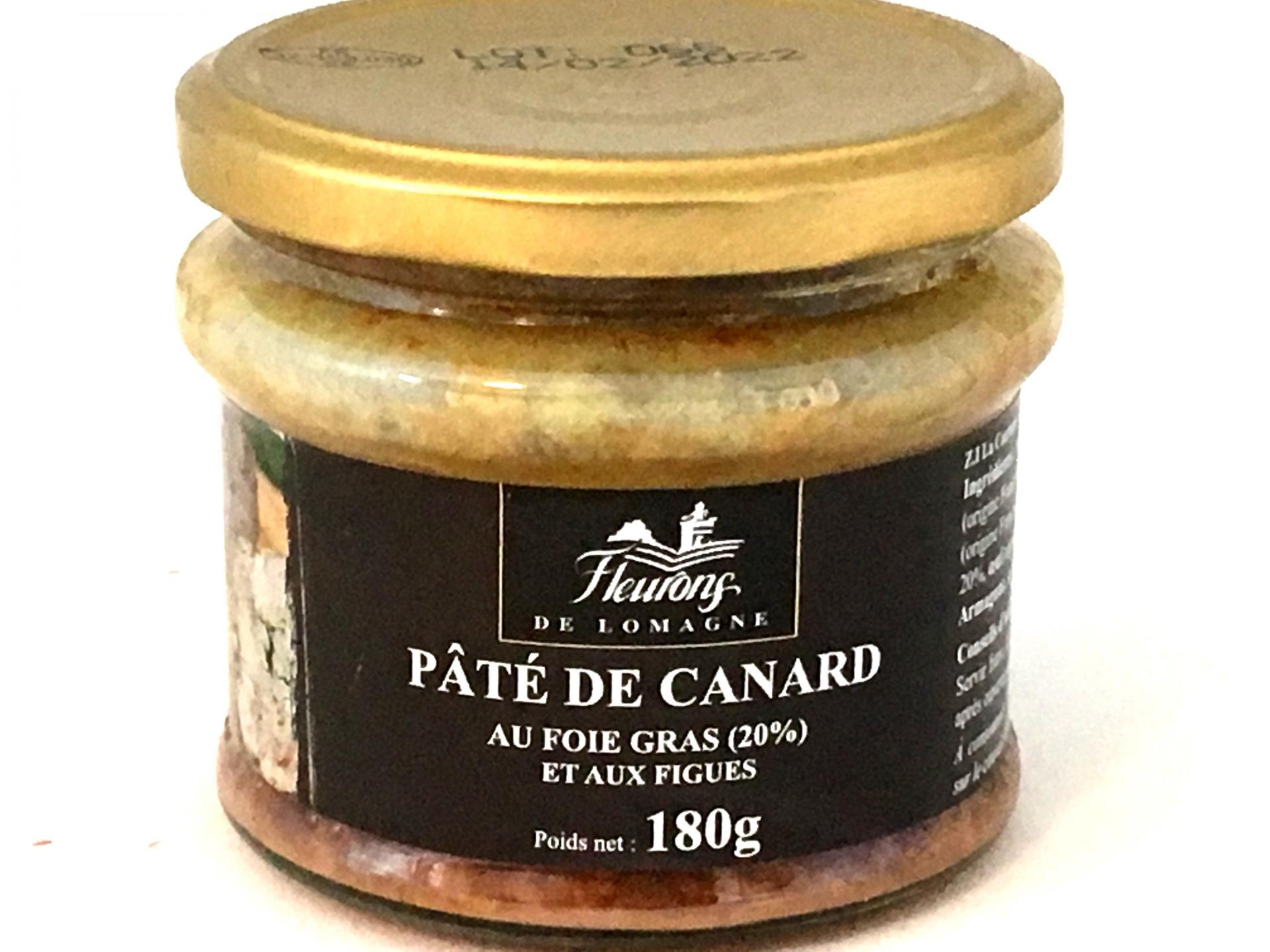 Pate de canard aux figues et au foie gras 20 foie gras 180g bocal