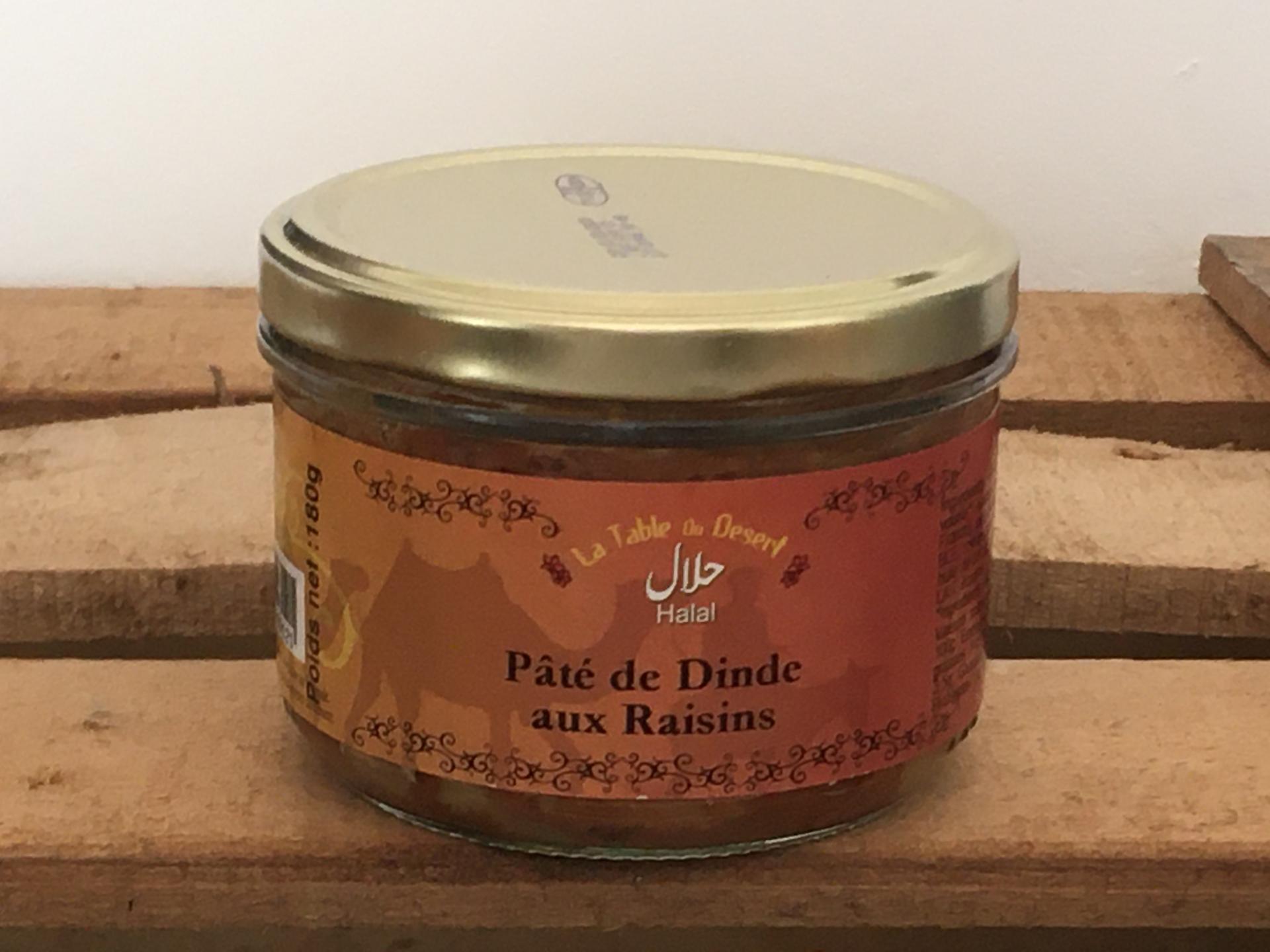 Pate de dinde aux raisins halal 180g bocal