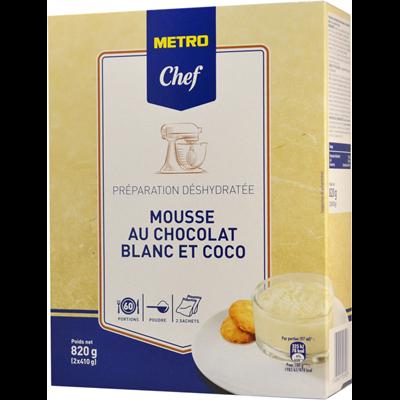 Preparation pour mousse au chocolat blanc et coco 820 g metro chef